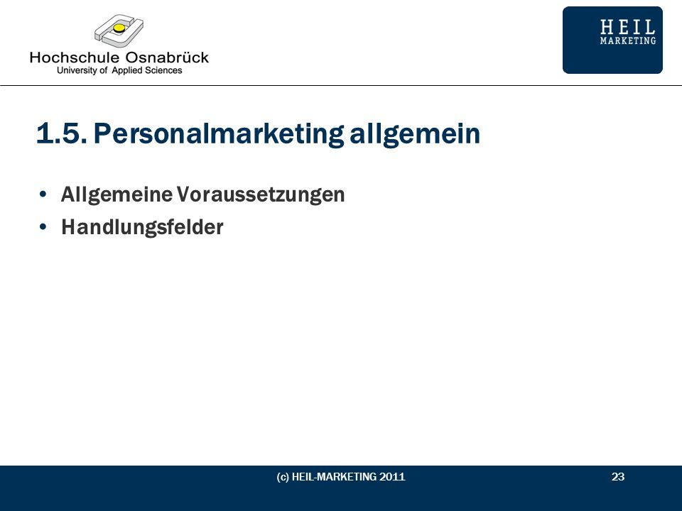1.5. Personalmarketing allgemein Allgemeine Voraussetzungen Handlungsfelder (c) HEIL-MARKETING 201123