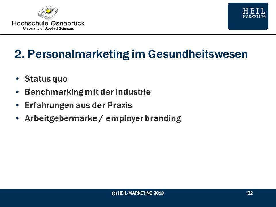 2. Personalmarketing im Gesundheitswesen Status quo Benchmarking mit der Industrie Erfahrungen aus der Praxis Arbeitgebermarke / employer branding (c)