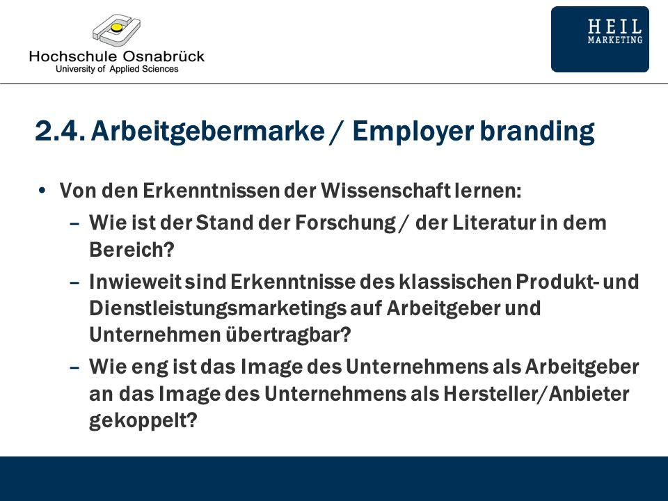 2.4. Arbeitgebermarke / Employer branding Von den Erkenntnissen der Wissenschaft lernen: –Wie ist der Stand der Forschung / der Literatur in dem Berei