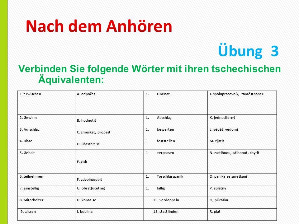 Verbinden Sie folgende Wörter mit ihren tschechischen Äquivalenten: Übung 3 1. erwischenA. odpočet1.UmsatzJ. spolupracovník, zaměstnanec 2. Gewinn B.