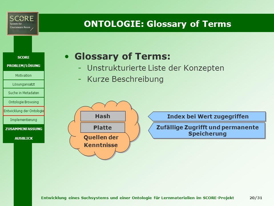 Entwicklung eines Suchsystems und einer Ontologie für Lernmaterialien im SCORE-Projekt 20/31 ONTOLOGIE: Glossary of Terms Glossary of Terms: -Unstrukt