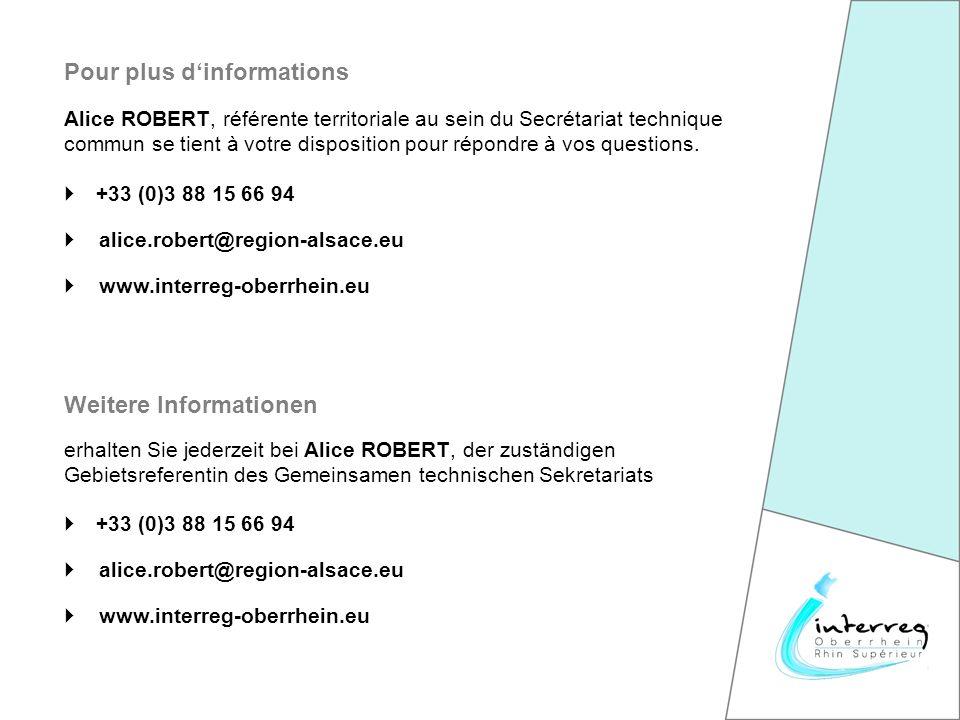 +33 (0)3 88 15 66 94 alice.robert@region-alsace.eu Pour plus dinformations www.interreg-oberrhein.eu +33 (0)3 88 15 66 94 alice.robert@region-alsace.eu erhalten Sie jederzeit bei Alice ROBERT, der zuständigen Gebietsreferentin des Gemeinsamen technischen Sekretariats Weitere Informationen www.interreg-oberrhein.eu Alice ROBERT, référente territoriale au sein du Secrétariat technique commun se tient à votre disposition pour répondre à vos questions.