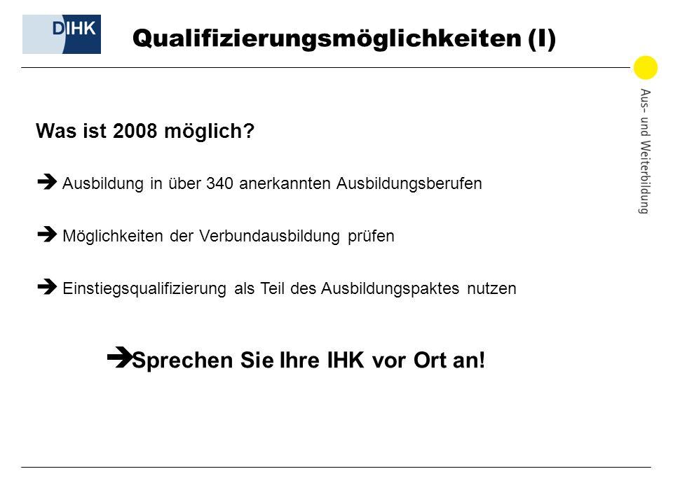 Qualifizierungsmöglichkeiten (I) Was ist 2008 möglich? Ausbildung in über 340 anerkannten Ausbildungsberufen Möglichkeiten der Verbundausbildung prüfe