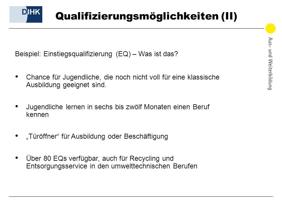 Qualifizierungsmöglichkeiten (II) Beispiel: Einstiegsqualifizierung (EQ) – Was ist das? Chance für Jugendliche, die noch nicht voll für eine klassisch