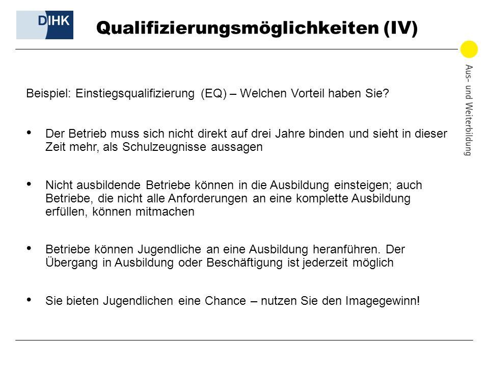 Qualifizierungsmöglichkeiten (IV) Beispiel: Einstiegsqualifizierung (EQ) – Welchen Vorteil haben Sie? Der Betrieb muss sich nicht direkt auf drei Jahr