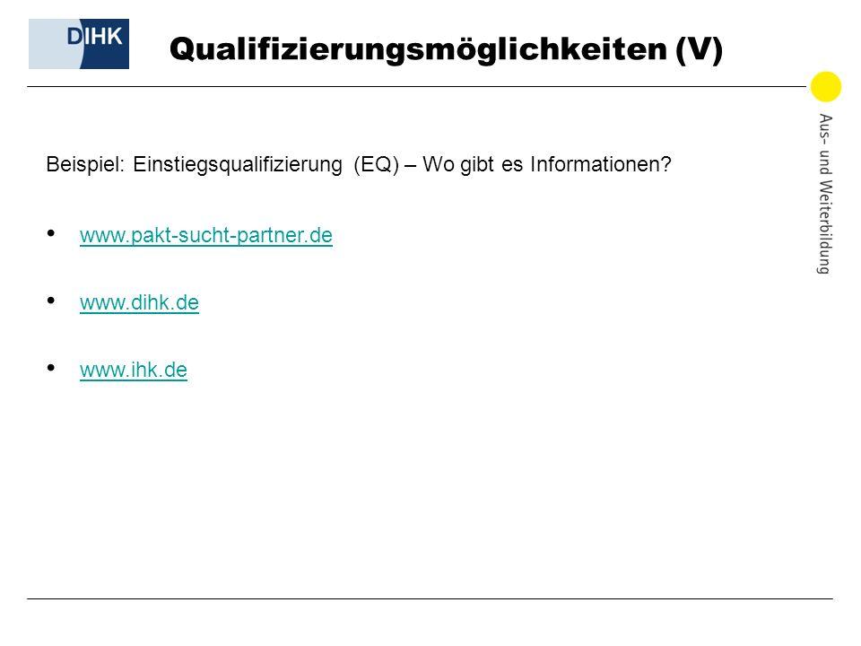 Qualifizierungsmöglichkeiten (V) Beispiel: Einstiegsqualifizierung (EQ) – Wo gibt es Informationen? www.pakt-sucht-partner.de www.dihk.de www.ihk.de