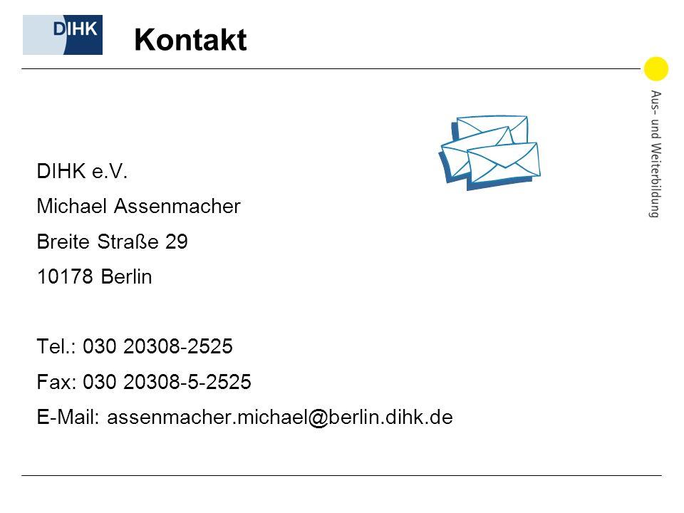 Kontakt DIHK e.V. Michael Assenmacher Breite Straße 29 10178 Berlin Tel.: 030 20308-2525 Fax: 030 20308-5-2525 E-Mail: assenmacher.michael@berlin.dihk
