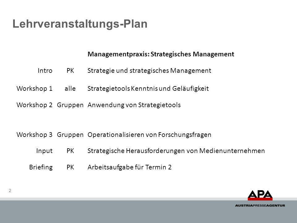 Lehrveranstaltungs-Plan 2 Managementpraxis: Strategisches Management IntroPKStrategie und strategisches Management Workshop 1alleStrategietools Kenntnis und Geläufigkeit Workshop 2GruppenAnwendung von Strategietools Workshop 3GruppenOperationalisieren von Forschungsfragen InputPKStrategische Herausforderungen von Medienunternehmen BriefingPKArbeitsaufgabe für Termin 2