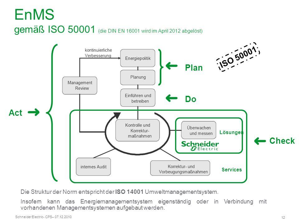 Schneider Electric 12 - CPS– 07.12.2010 Act Plan Do Check Lösungen Services ISO 50001 EnMS gemäß ISO 50001 (die DIN EN 16001 wird im April 2012 abgelö