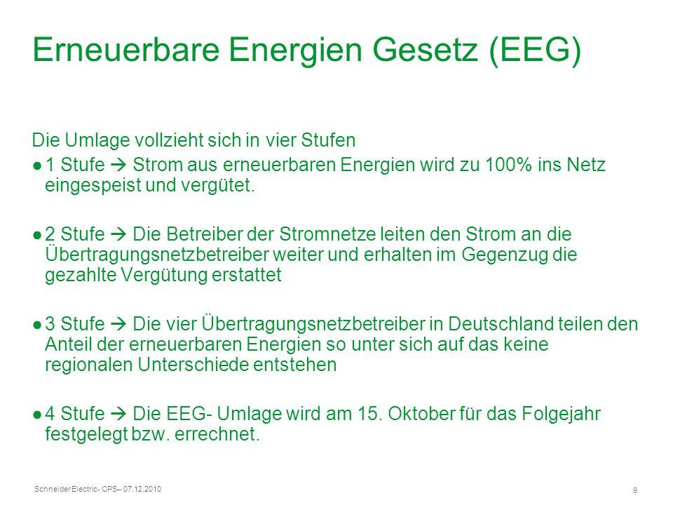 Schneider Electric 9 - CPS– 07.12.2010 Erneuerbare Energien Gesetz (EEG) Die Umlage vollzieht sich in vier Stufen 1 Stufe Strom aus erneuerbaren Energ