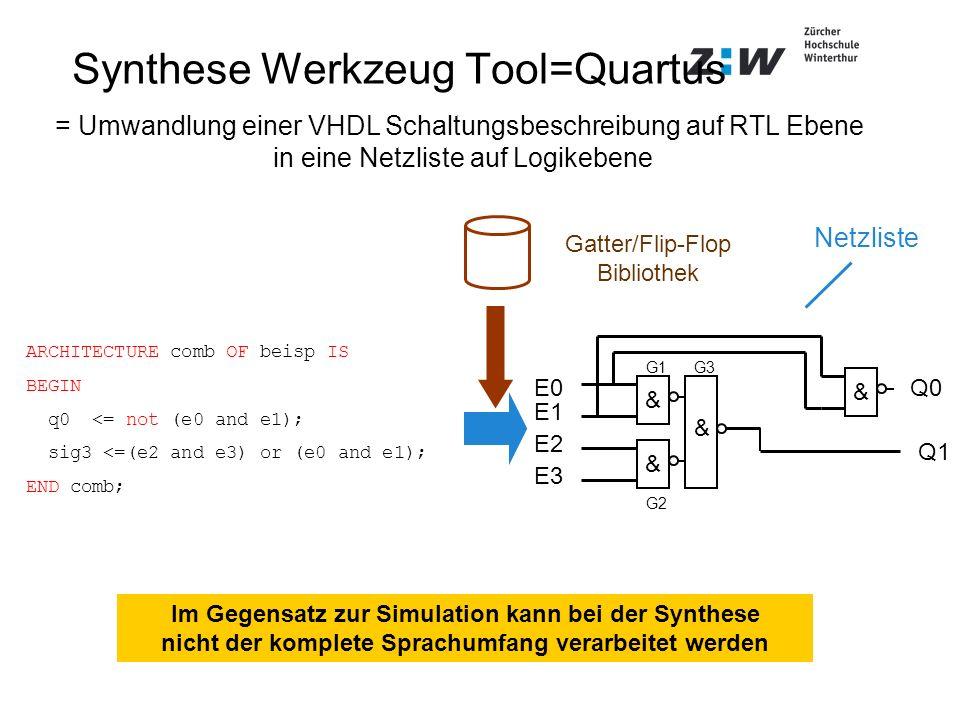 Synthese Werkzeug Tool=Quartus & & & & G3 G2 G1 Q1 Q0 E3 E0 E1 E2 = Umwandlung einer VHDL Schaltungsbeschreibung auf RTL Ebene in eine Netzliste auf L