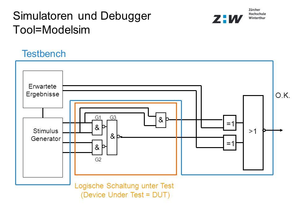 Simulatoren und Debugger Tool=Modelsim Logische Schaltung unter Test (Device Under Test = DUT) =1 >1 Stimulus Generator Erwartete Ergebnisse Testbench