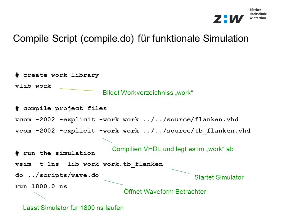 Compile Script (compile.do) für funktionale Simulation # create work library vlib work # compile project files vcom -2002 -explicit -work work../../source/flanken.vhd vcom -2002 -explicit -work work../../source/tb_flanken.vhd # run the simulation vsim -t 1ns -lib work work.tb_flanken do../scripts/wave.do run 1800.0 ns Startet Simulator Bildet Workverzeichniss work Compiliert VHDL und legt es im work ab Lässt Simulator für 1800 ns laufen Öffnet Waveform Betrachter