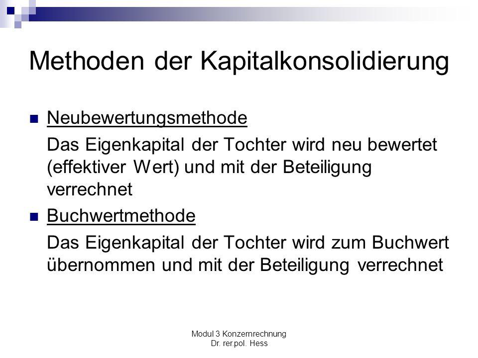 Modul 3 Konzernrechnung Dr. rer.pol. Hess Methoden der Kapitalkonsolidierung Neubewertungsmethode Das Eigenkapital der Tochter wird neu bewertet (effe