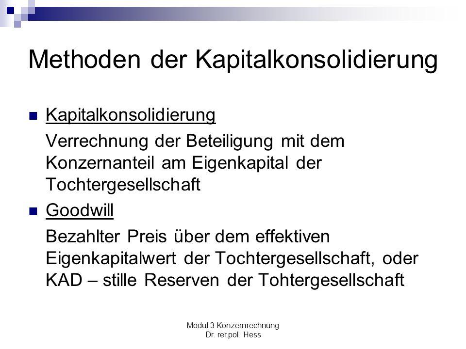 Modul 3 Konzernrechnung Dr. rer.pol. Hess Methoden der Kapitalkonsolidierung Kapitalkonsolidierung Verrechnung der Beteiligung mit dem Konzernanteil a