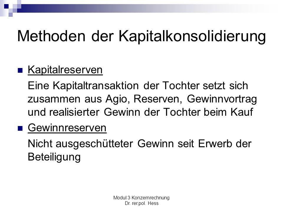 Modul 3 Konzernrechnung Dr. rer.pol. Hess Methoden der Kapitalkonsolidierung Kapitalreserven Eine Kapitaltransaktion der Tochter setzt sich zusammen a