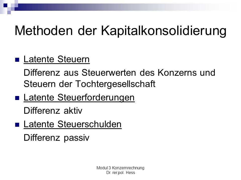 Modul 3 Konzernrechnung Dr. rer.pol. Hess Methoden der Kapitalkonsolidierung Latente Steuern Differenz aus Steuerwerten des Konzerns und Steuern der T