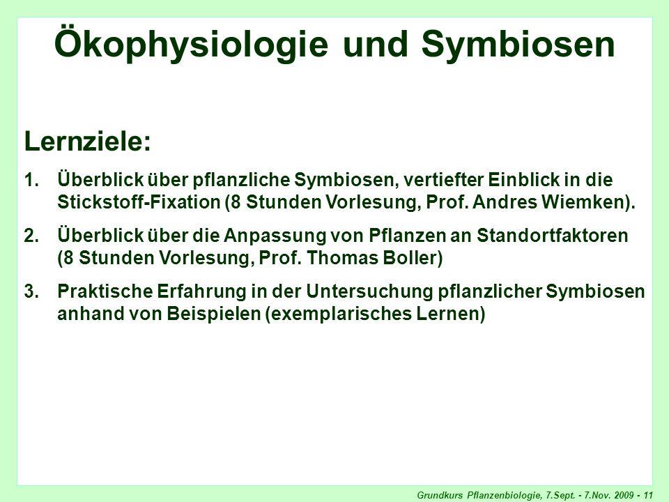 Grundkurs Pflanzenbiologie, 7.Sept. - 7.Nov. 2009 - 11 Ökophysiologie und Symbiosen Lernziele: 1.Überblick über pflanzliche Symbiosen, vertiefter Einb
