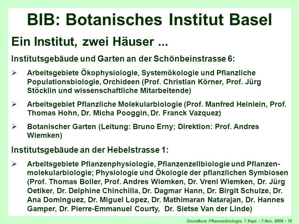 Grundkurs Pflanzenbiologie, 7.Sept. - 7.Nov. 2009 - 18 BIB BIB: Botanisches Institut Basel Ein Institut, zwei Häuser... Institutsgebäude und Garten an