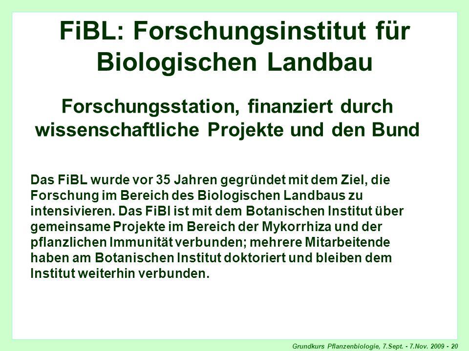 Grundkurs Pflanzenbiologie, 7.Sept. - 7.Nov. 2009 - 20 FMI FiBL: Forschungsinstitut für Biologischen Landbau Forschungsstation, finanziert durch wisse