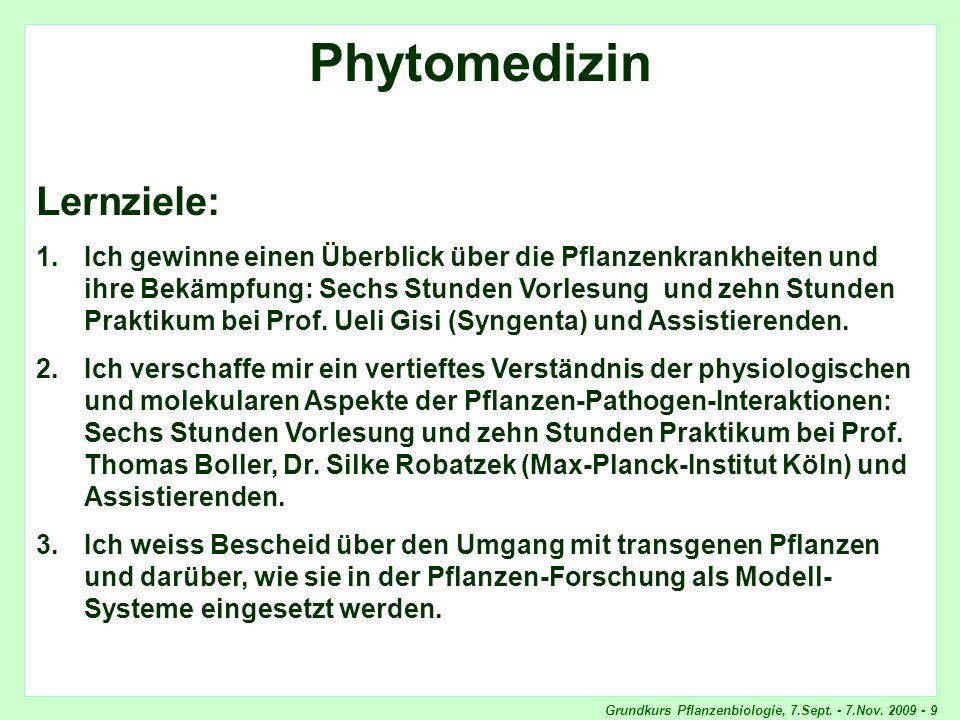 Grundkurs Pflanzenbiologie, 7.Sept. - 7.Nov. 2009 - 9 Phytomedizin, Lernziele Phytomedizin Lernziele: 1.Ich gewinne einen Überblick über die Pflanzenk