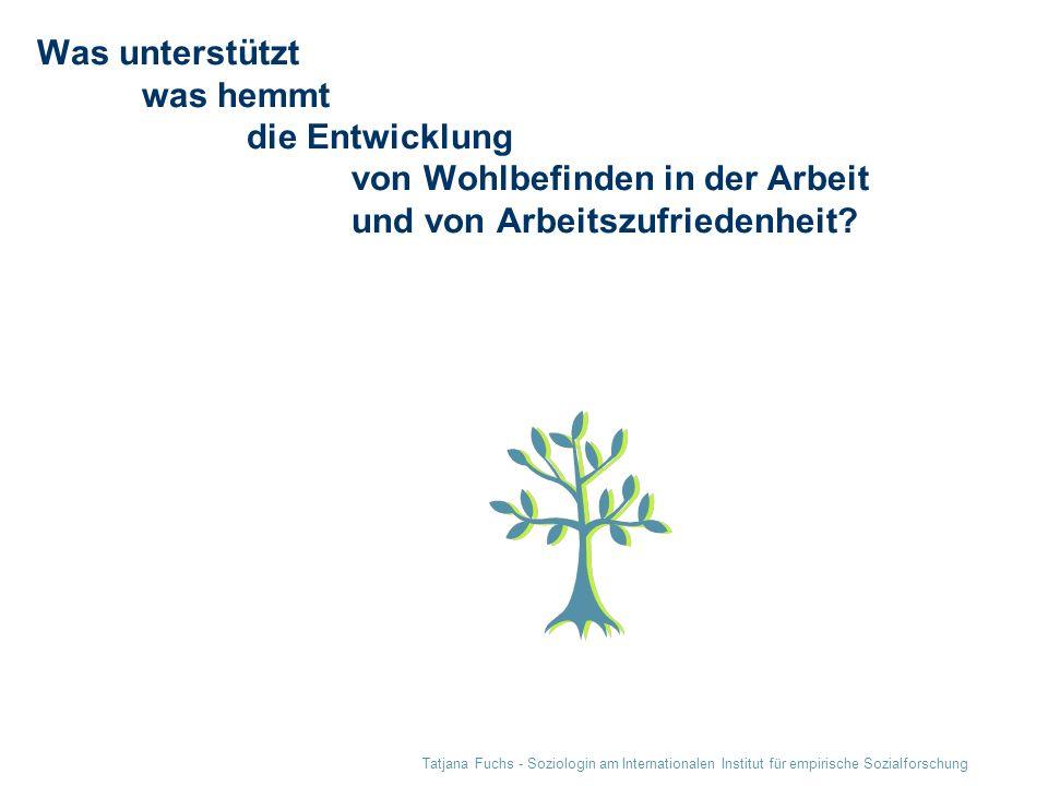 Tatjana Fuchs - Soziologin am Internationalen Institut für empirische Sozialforschung Was unterstützt was hemmt die Entwicklung von Wohlbefinden in de