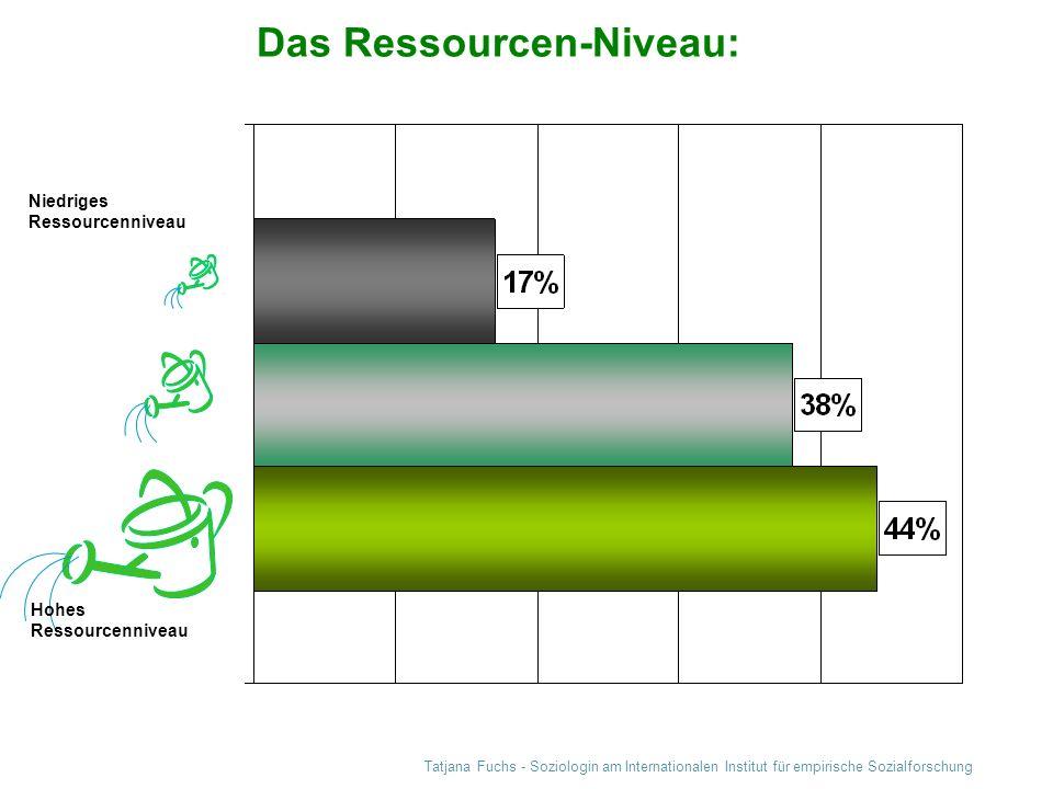 Tatjana Fuchs - Soziologin am Internationalen Institut für empirische Sozialforschung Das Ressourcen-Niveau: Niedriges Ressourcenniveau Hohes Ressourc