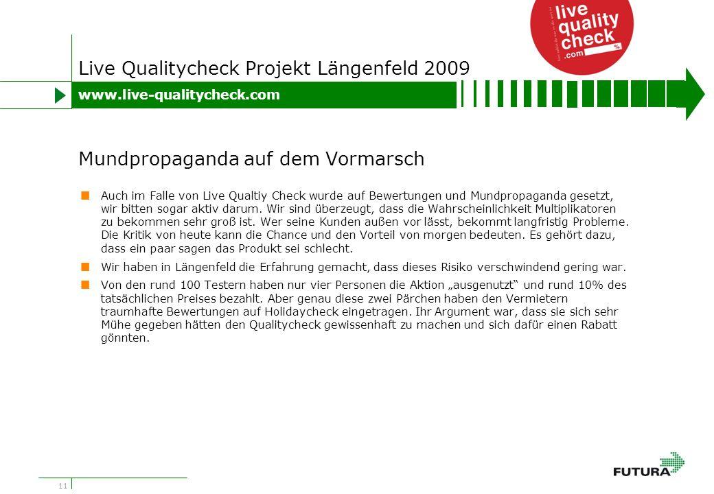 11 Live Qualitycheck Projekt Längenfeld 2009 Auch im Falle von Live Qualtiy Check wurde auf Bewertungen und Mundpropaganda gesetzt, wir bitten sogar aktiv darum.