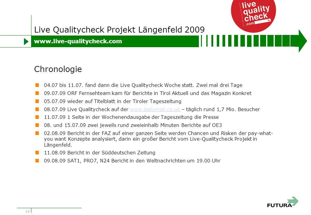 16 Live Qualitycheck Projekt Längenfeld 2009 04.07 bis 11.07.