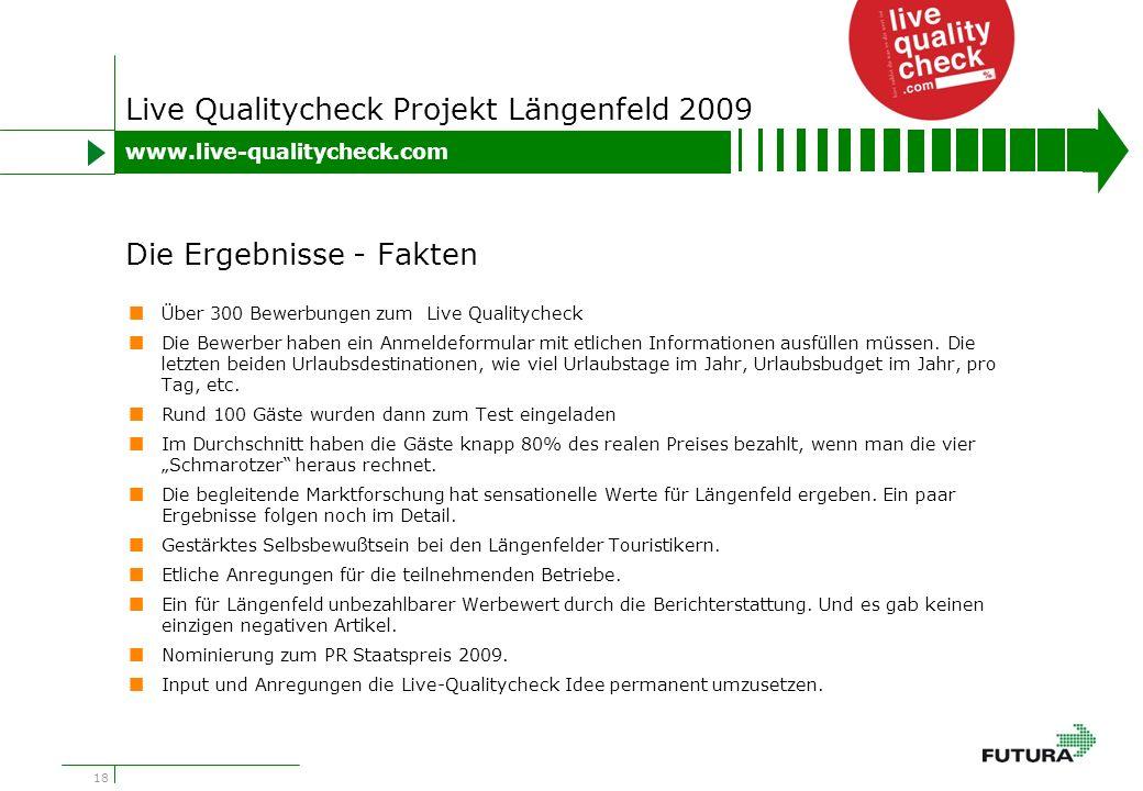 18 Live Qualitycheck Projekt Längenfeld 2009 Über 300 Bewerbungen zum Live Qualitycheck Die Bewerber haben ein Anmeldeformular mit etlichen Informationen ausfüllen müssen.