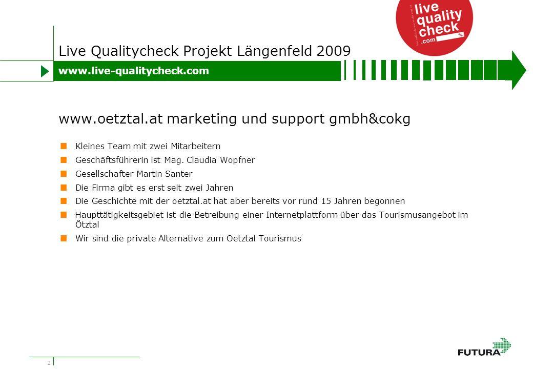 2 Live Qualitycheck Projekt Längenfeld 2009 Kleines Team mit zwei Mitarbeitern Geschäftsführerin ist Mag.