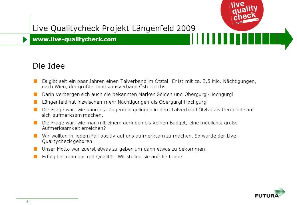 17 Live Qualitycheck Projekt Längenfeld 2009 Umrechnung der erfolgten Berichterstattung in den Medien in bezahlte Werbung: Wir kommen dabei auf einen unbezahlten Werbewert von mehr als Euro 250.000,- Der jüngste Höhepunkt in der Live Quality Check Geschichte ist die Nominierung unseres Projektes zum PR Staatspreis 2009.