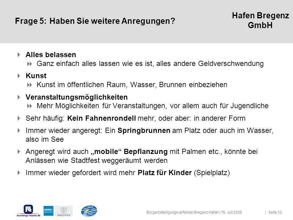 Hafen Bregenz GmbH Frage 5:Haben Sie weitere Anregungen? Alles belassen Ganz einfach alles lassen wie es ist, alles andere Geldverschwendung Kunst Kun