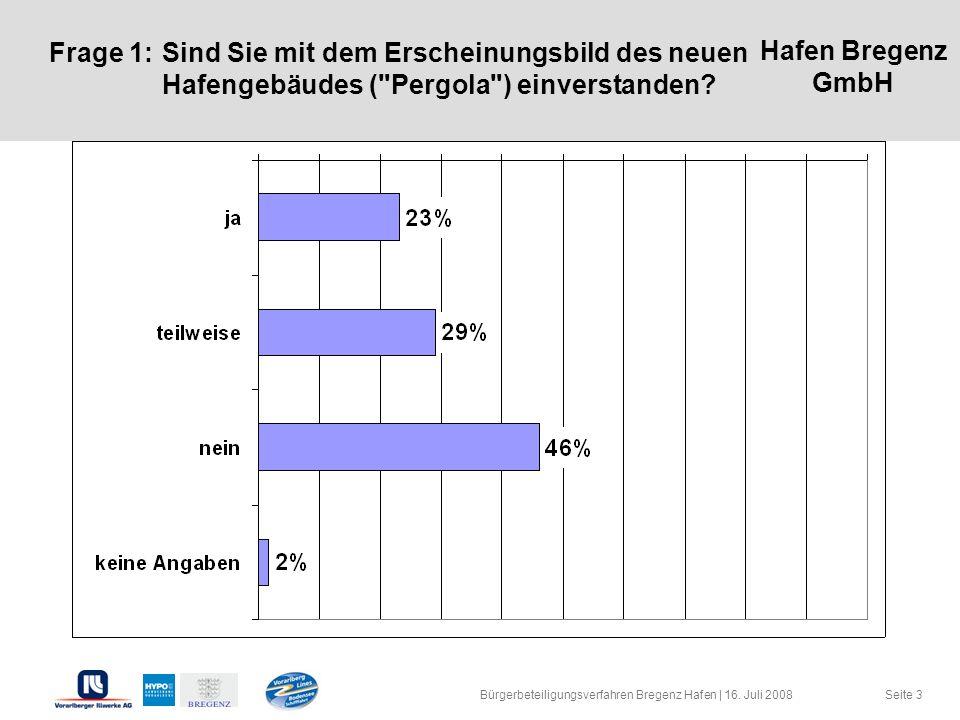 Hafen Bregenz GmbH Seite 3 Frage 1:Sind Sie mit dem Erscheinungsbild des neuen Hafengebäudes (