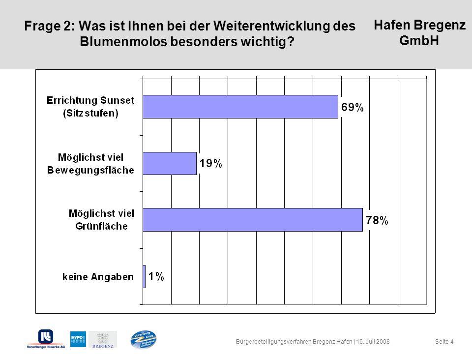Hafen Bregenz GmbH Seite 4 Frage 2: Was ist Ihnen bei der Weiterentwicklung des Blumenmolos besonders wichtig? Bürgerbeteiligungsverfahren Bregenz Haf