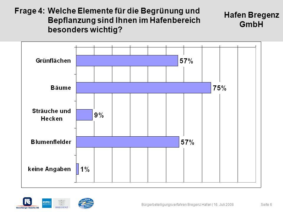 Hafen Bregenz GmbH Seite 6 Frage 4:Welche Elemente für die Begrünung und Bepflanzung sind Ihnen im Hafenbereich besonders wichtig? Bürgerbeteiligungsv