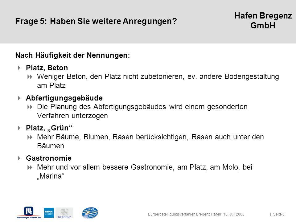 Hafen Bregenz GmbH Frage 5:Haben Sie weitere Anregungen? Nach Häufigkeit der Nennungen: Platz, Beton Weniger Beton, den Platz nicht zubetonieren, ev.