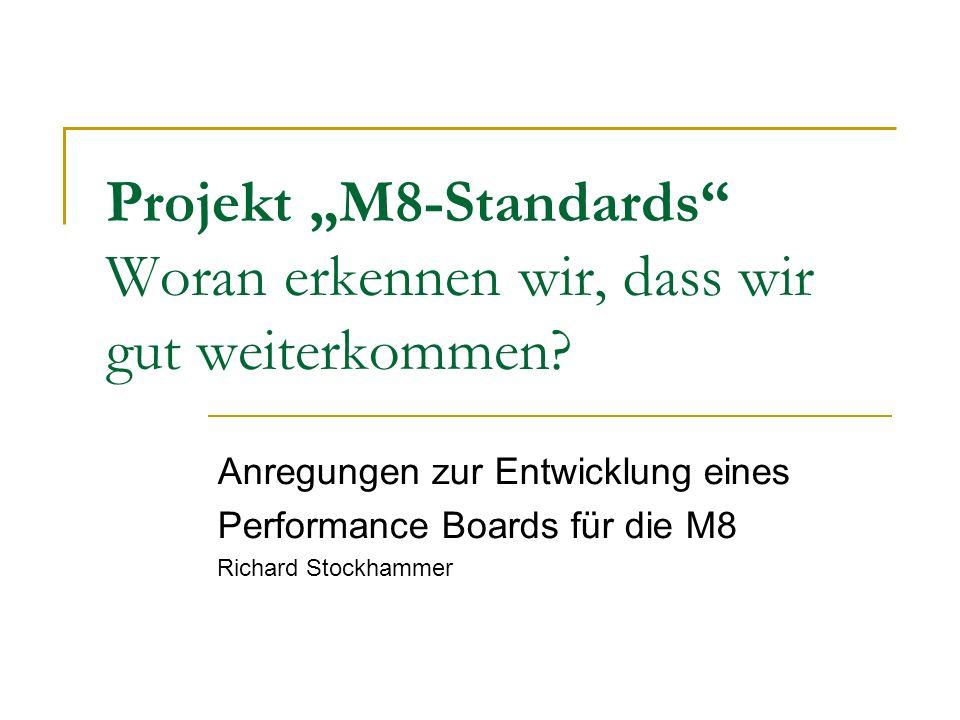 Projekt M8-Standards Woran erkennen wir, dass wir gut weiterkommen.