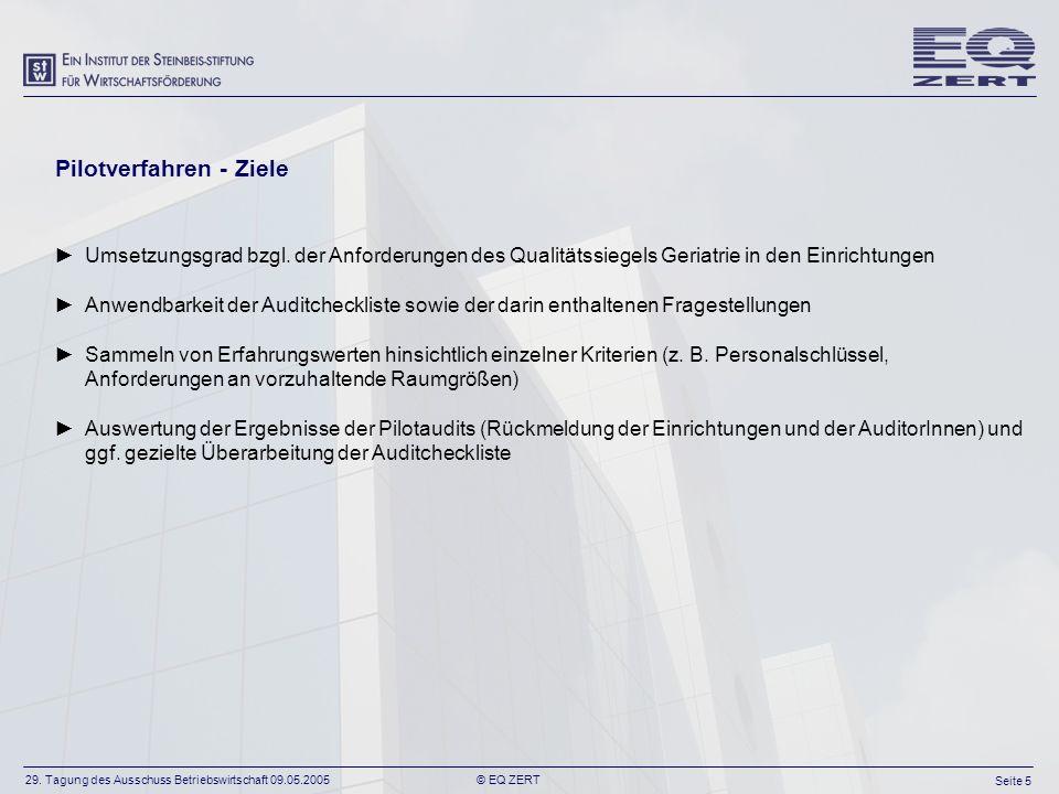29. Tagung des Ausschuss Betriebswirtschaft 09.05.2005 Seite 5 © EQ ZERT Pilotverfahren - Ziele Umsetzungsgrad bzgl. der Anforderungen des Qualitätssi