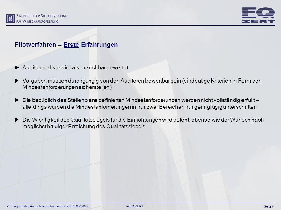 29. Tagung des Ausschuss Betriebswirtschaft 09.05.2005 Seite 6 © EQ ZERT Pilotverfahren – Erste Erfahrungen Auditcheckliste wird als brauchbar bewerte