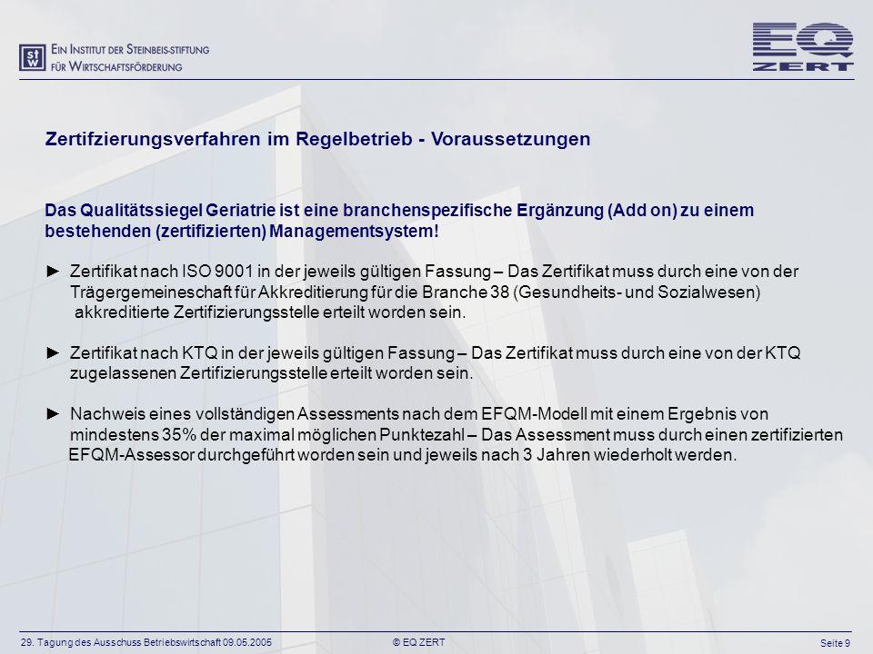 29. Tagung des Ausschuss Betriebswirtschaft 09.05.2005 Seite 9 © EQ ZERT Zertifzierungsverfahren im Regelbetrieb - Voraussetzungen Das Qualitätssiegel
