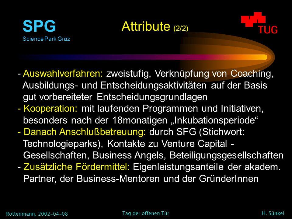 SPG Science Park Graz Rottenmann, 2002-04-08 H. Sünkel Tag der offenen Tür - Auswahlverfahren: zweistufig, Verknüpfung von Coaching, Ausbildungs- und