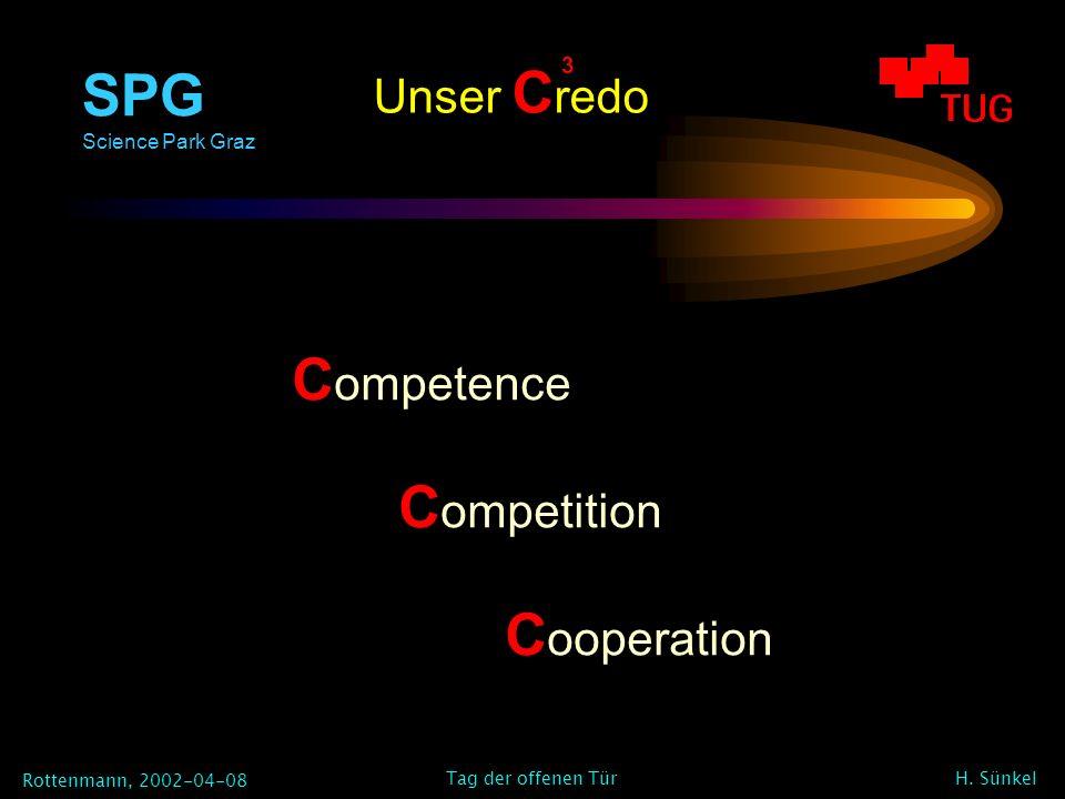 SPG Science Park Graz Rottenmann, 2002-04-08 H. Sünkel Tag der offenen Tür Unser C redo C ompetence C ompetition C ooperation 3