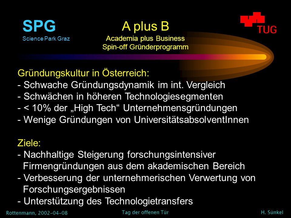 SPG Science Park Graz Rottenmann, 2002-04-08 H. Sünkel Tag der offenen Tür A plus B Academia plus Business Spin-off Gründerprogramm Gründungskultur in