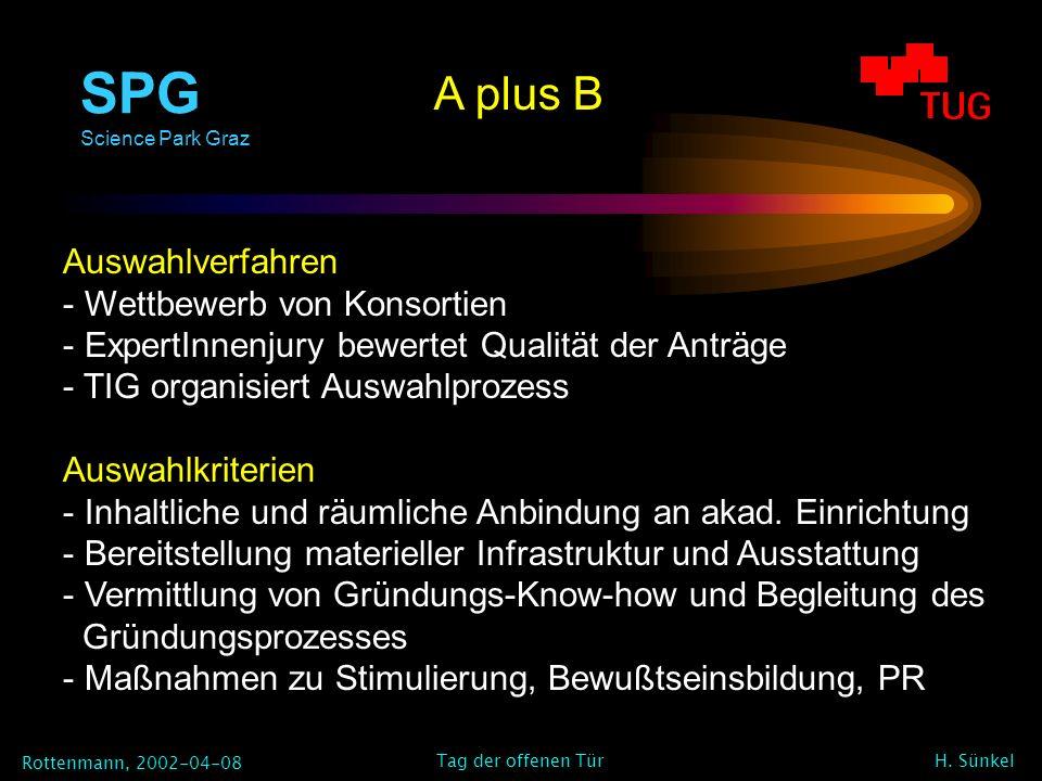 SPG Science Park Graz Rottenmann, 2002-04-08 H. Sünkel Tag der offenen Tür A plus B Auswahlverfahren - Wettbewerb von Konsortien - ExpertInnenjury bew