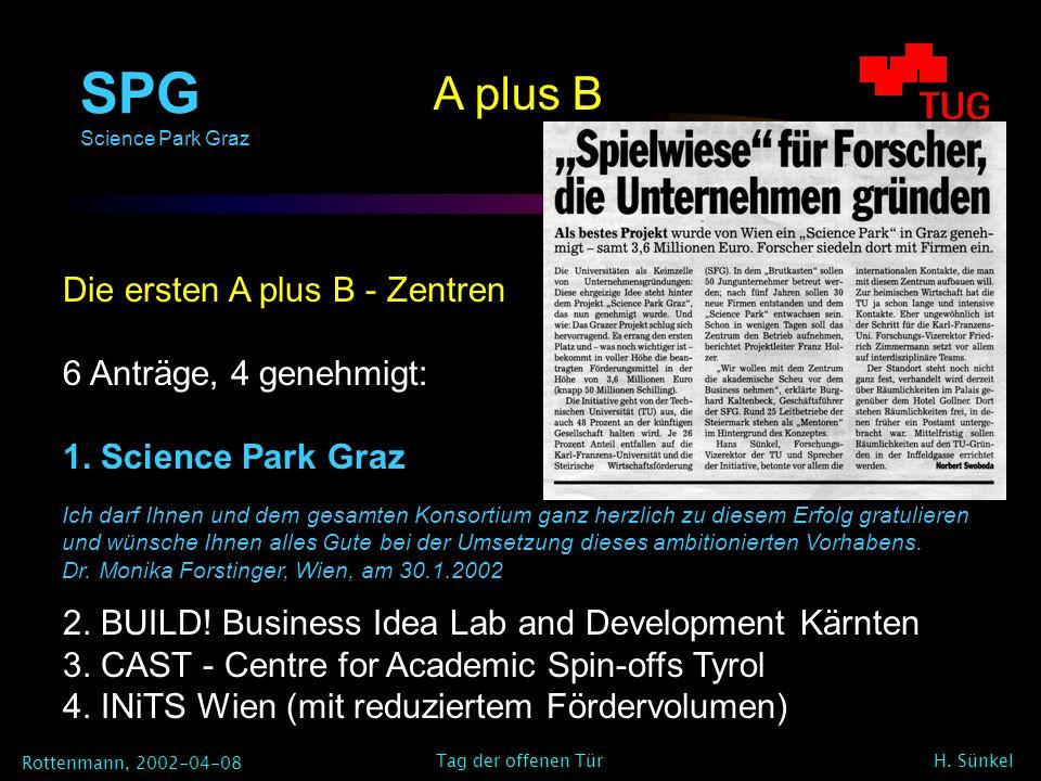 SPG Science Park Graz Rottenmann, 2002-04-08 H. Sünkel Tag der offenen Tür A plus B Die ersten A plus B - Zentren 6 Anträge, 4 genehmigt: 1. Science P