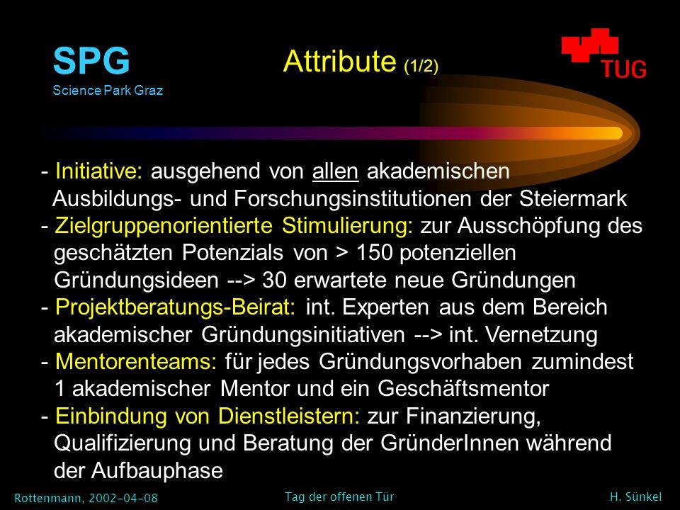 SPG Science Park Graz Rottenmann, 2002-04-08 H. Sünkel Tag der offenen Tür - Initiative: ausgehend von allen akademischen Ausbildungs- und Forschungsi