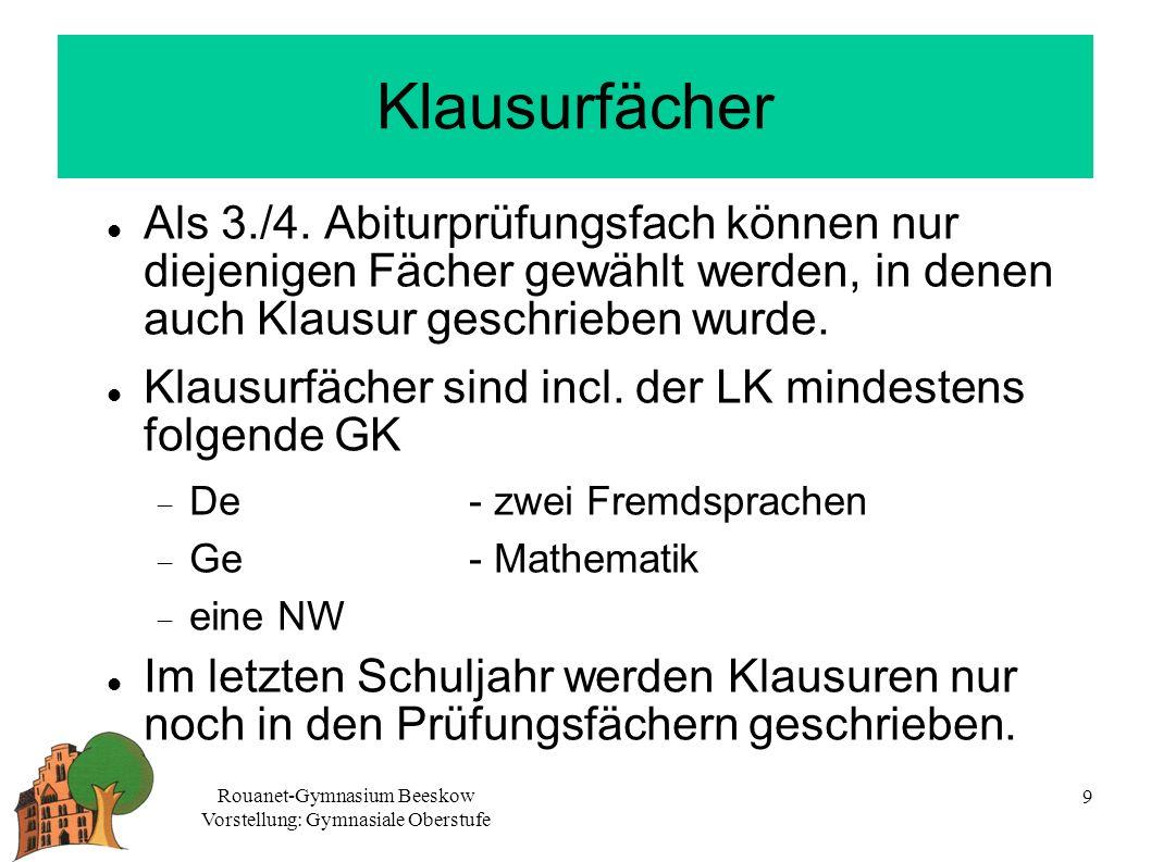 Rouanet-Gymnasium Beeskow Vorstellung: Gymnasiale Oberstufe 9 Klausurfächer Als 3./4.