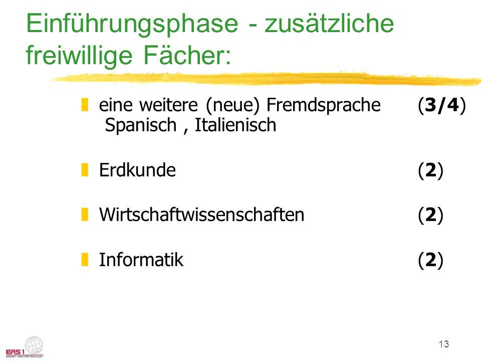 13 Einführungsphase - zusätzliche freiwillige Fächer: zeine weitere (neue) Fremdsprache(3/4) Spanisch, Italienisch zErdkunde (2) zWirtschaftwissenscha