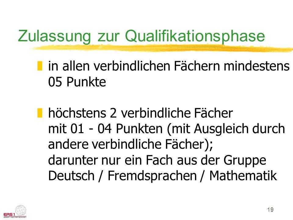 19 Zulassung zur Qualifikationsphase zin allen verbindlichen Fächern mindestens 05 Punkte zhöchstens 2 verbindliche Fächer mit 01 - 04 Punkten (mit Au